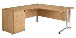 LDM160 - Left Hand Radial with Desk High Pedestal 600  Beech