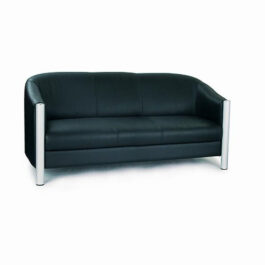 Quality Leather Faced Tub Style Three Seater Sofa • Black