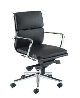ARIA Medium back armchair with chrome armrests and base