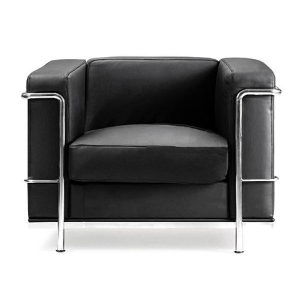 CONTEMPORARY CUBED LEATHER FACED RECEPTION CHAIR