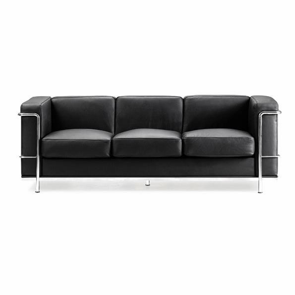CONTEMPORARY CUBED LEATHER FACED RECEPTION THREE SEATER SOFA
