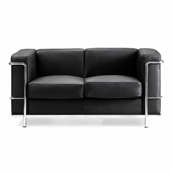 CONTEMPORARY CUBED LEATHER FACED RECEPTION TWO SEATER SOFA