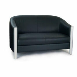 Quality Leather Faced Tub Style Two Seater Sofa • Black