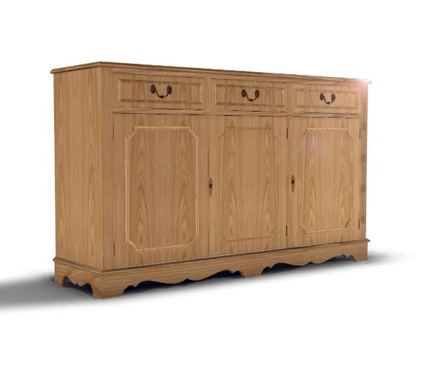 La Credenza Uk : 3 door credenza with drawers margolis furniture