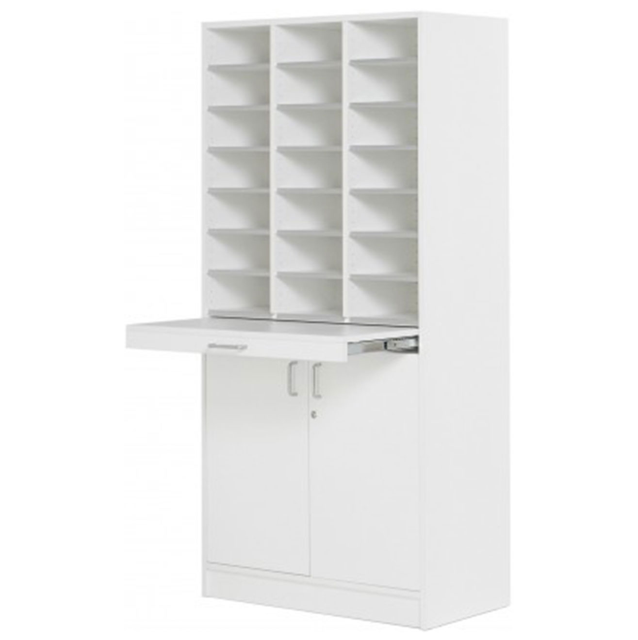 Floor Model - Triple Pigeon Hole Cabinet - White