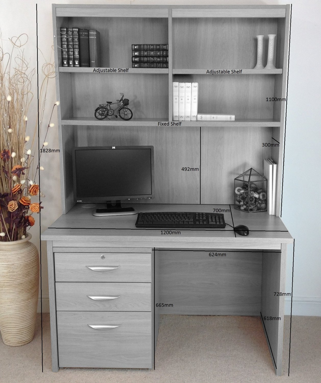 HOME OFFICE DESK WITH DRAWERS/ FILING CABINET AND HUTCH