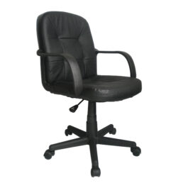 Delph (Black) Medium Back Leather Effect Executive Armchair