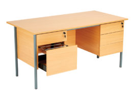 Eco 18 Rectangular Desk (2 and 3 Drawer Pedestals, W 1500mm)
