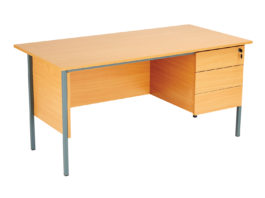 Eco 18 Rectangular Desk (With Single Pedestal, 2 Drawers, W 1200mm)