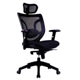 - NEWTON • Mesh High Back Executive Armchair with Integral Headrest - Black